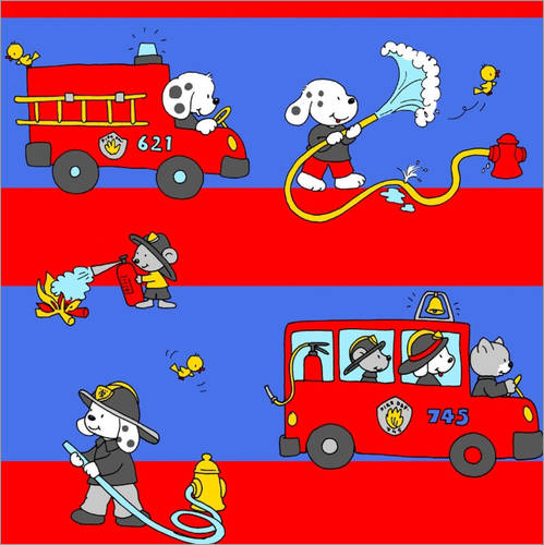 Wall sticker animal fire brigade