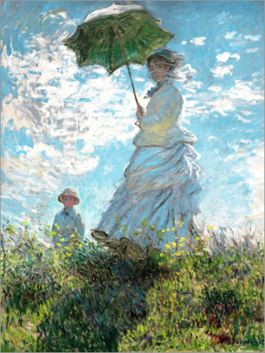 Premium poster Woman with a parasol - Madame Monet and her son