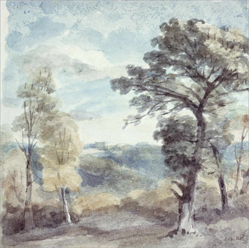 Premium poster Landscape with trees and a distant mansion