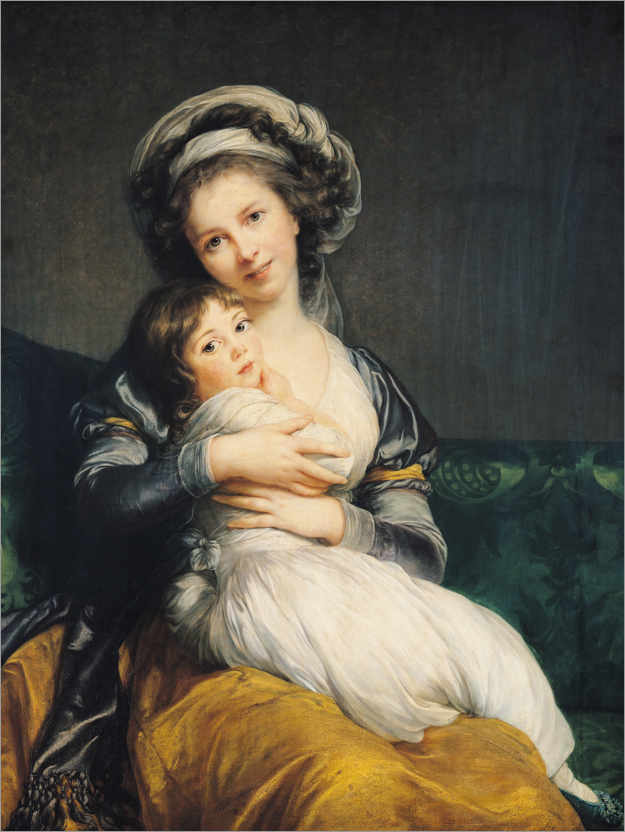 Premium poster Elisabeth Louise Vigee-Lebrun with turban and child