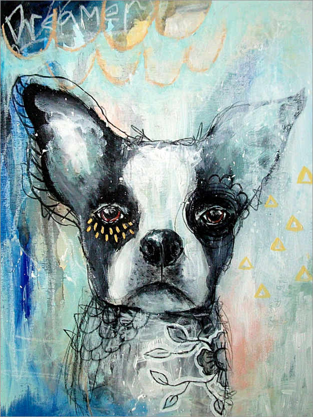 Premium poster Little Dreamer - Boston Terrier