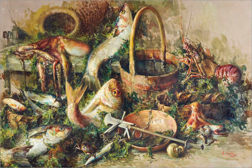 Premium poster Still life with fish