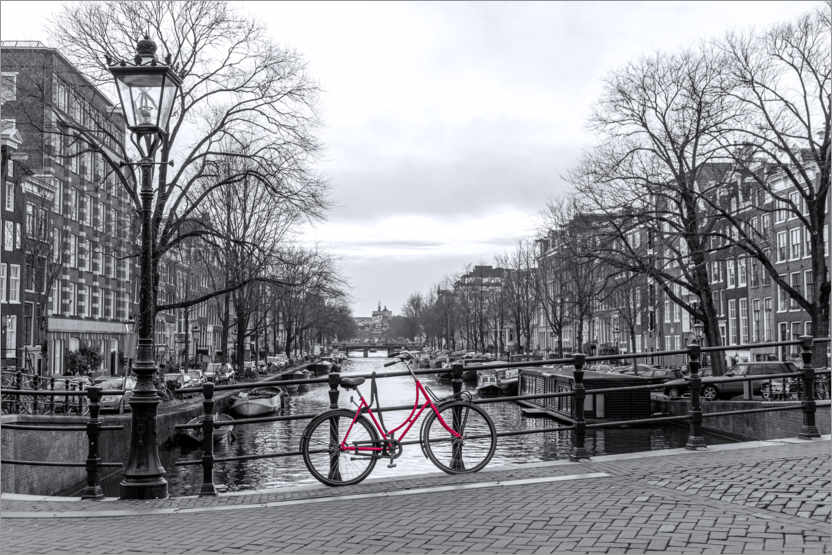 Premium poster Red bicycle in Amsterdam