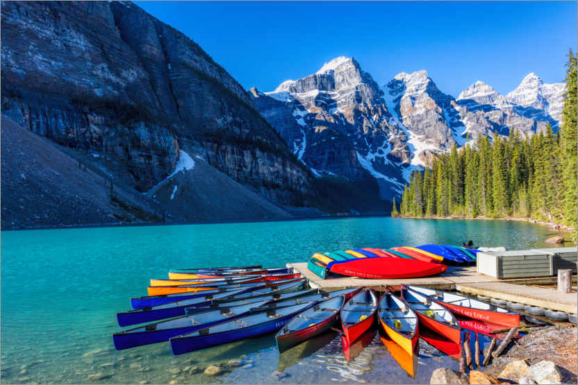 Canoes On Moraine Lake Canada Posters And Prints Posterlounge Com