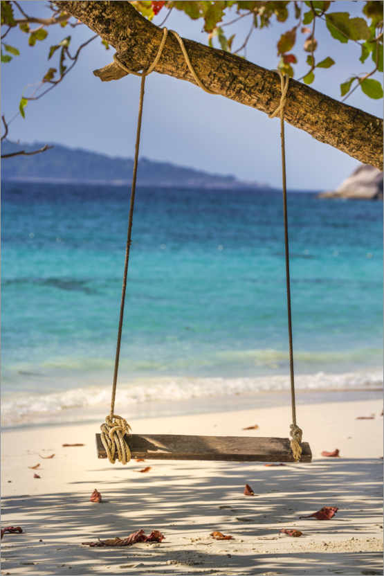 Premium poster Wooden swing on the sandy beach