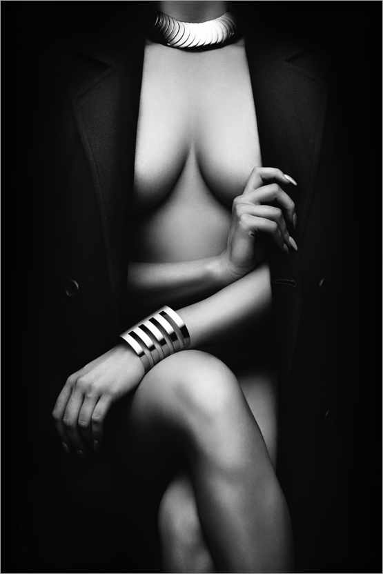 Premium poster Female Nude with a Coat