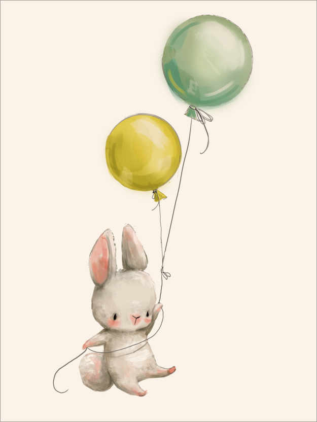 Premium poster Bunny with Balloons