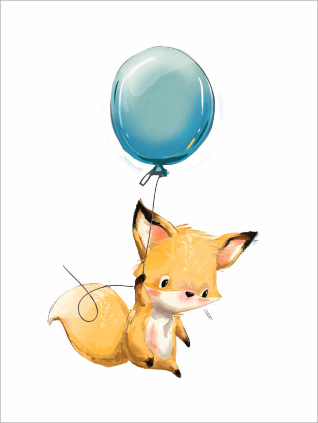 Premium poster Little Fox with a Balloon
