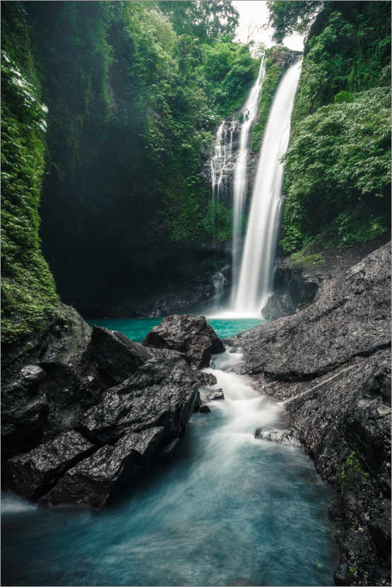 Premium poster Waterfall in the rainforest on Bali