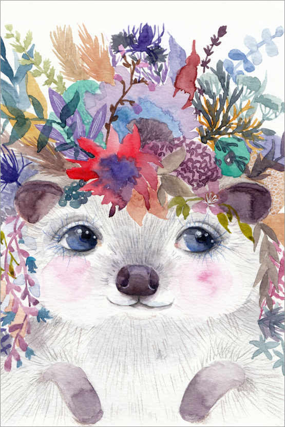 Premium poster Hedgehog with Flowers
