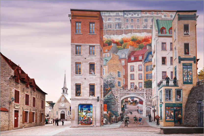 Premium poster Wall fresco with the history of Quebec
