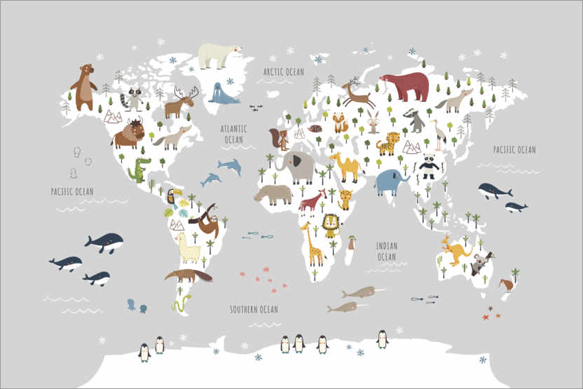 Premium poster World map with animals (grey)