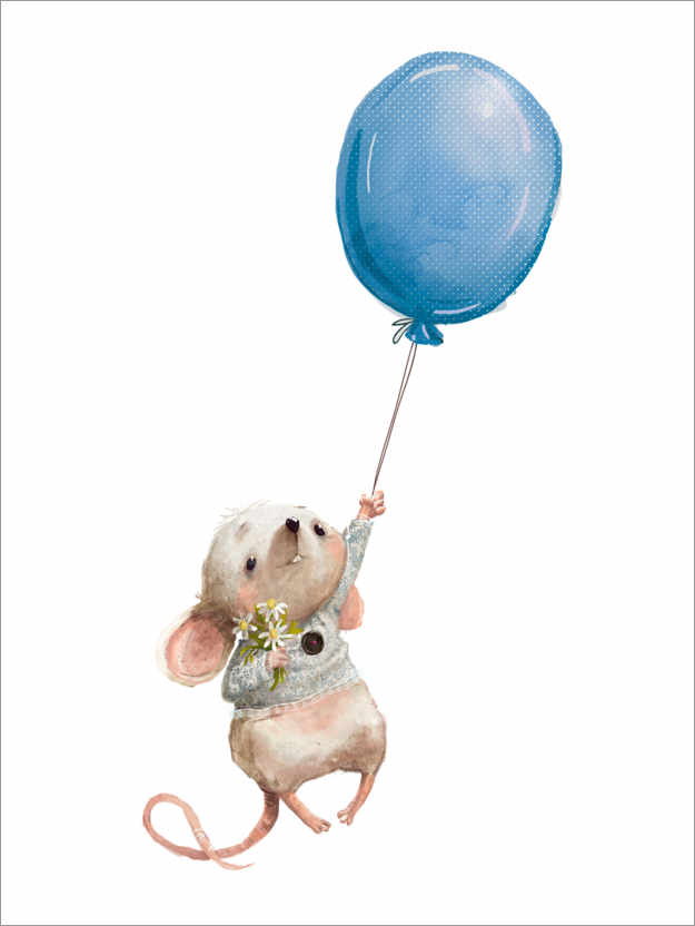 Premium poster Little mouse with balloon
