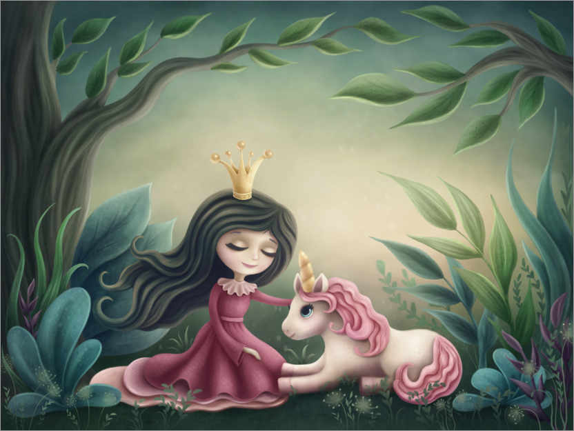 Premium poster Princess with unicorn in the magic forest