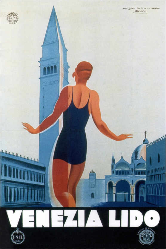 Premium poster On the beach of Venice, Italy