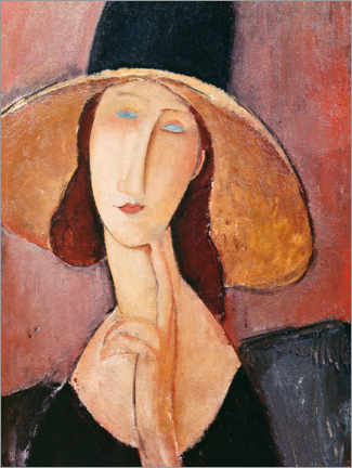 Canvas print  Jeanne Hebuterne in a large hat - Amedeo Modigliani