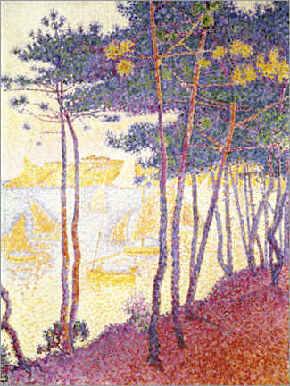 Premium poster  Pine trees and sailing boats - Paul Signac