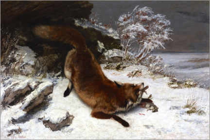 Wood print  Fox in the snow - Gustave Courbet