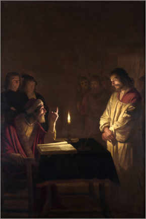Premium poster  Christ before the high priest - Gerard van Honthorst
