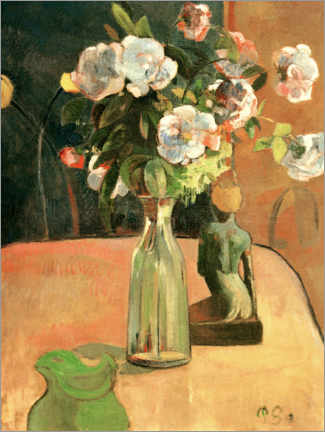 Acrylic print  Roses and Statuette - Paul Gauguin