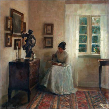 Acrylic print  Interior with reading woman - Carl Holsøe