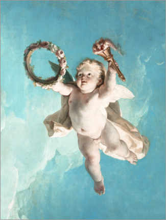 Wood print  Flying Putte with wreath and torch - François Boucher