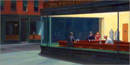 Wood print  Nighthawks - Edward Hopper