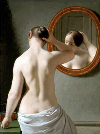 Premium poster Young woman in front of a mirror