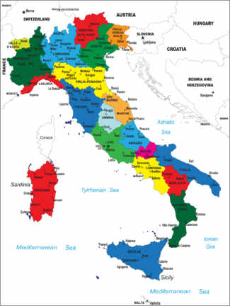 Wood print  Italy - Political Map