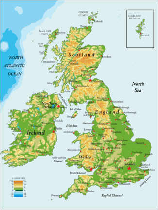 Aluminium print  Topography Map of Great Britain and Ireland