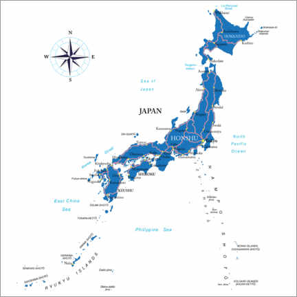 Wood print  Map of Japan