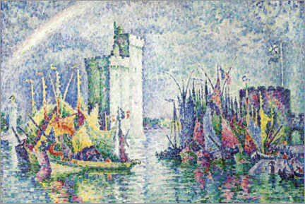 Wood print  Rainbow over the port of La Rochelle - Paul Signac