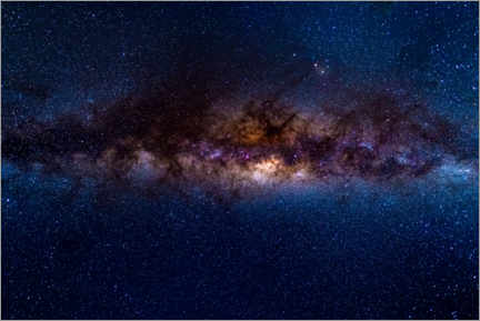 Premium poster The Milky Way galaxy, details of the colorful core.