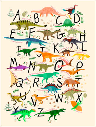 Wood print  Dino Alphabet - Kidz Collection