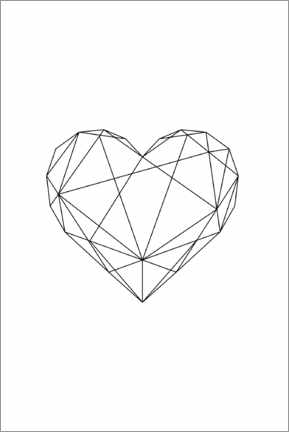 Canvas print  Black Geometric Heart - Pulse of Art