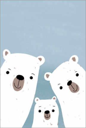 Wood print  Polar bears family - Julia Reyelt