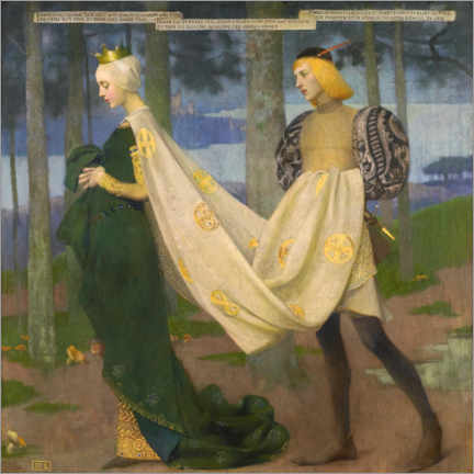 Wood print  The Queen and the Page - Marianne Stokes