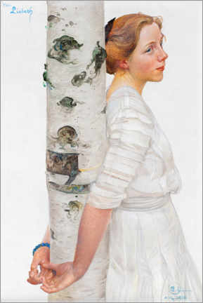 Premium poster  Lisbeth at the birch trunk - Carl Larsson