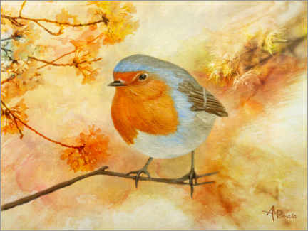 Premium poster  Robins among flowers - Ángeles M. Pomata
