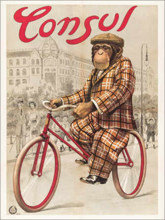 Premium poster  Monkey on a wheel - Advertising Collection