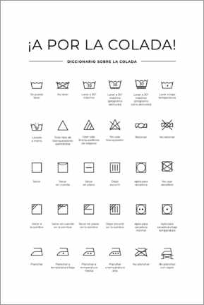 Acrylic print  Washing and Care Symbols (Spanish)