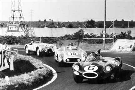 Premium poster Fangio, Moss and Hawthorn at the Le Mans 24-hour race 1955