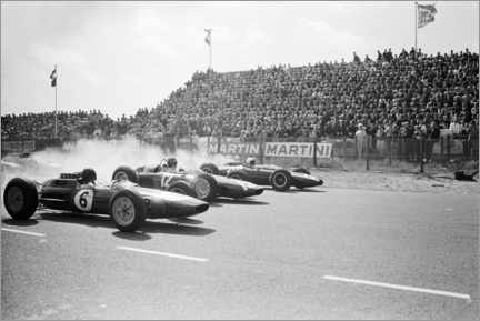Acrylic print  Jim Clark, Graham Hill and Bruce McLaren at the start, Zandvoort 1963