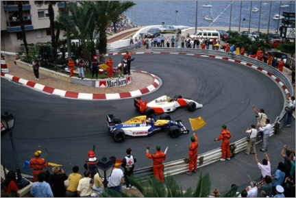 Canvas print  Salute for Ayrton Senna and Nigel Mansell on the slowing down lap, 1992