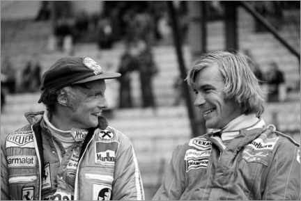 Wood print  Niki Lauda and James Hunt, Formula 1 GP, Belgium 1977