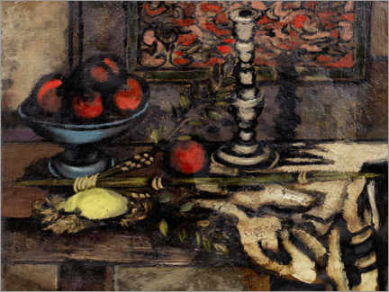 Premium poster Still life with fruit and candlestick