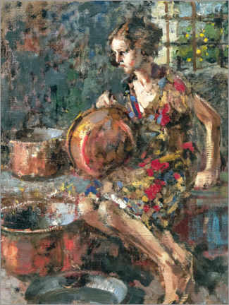 Wall sticker  Girl with copper pots - Vincenzo Irolli