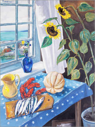 Acrylic print  Still life with sunflowers and crayfish - Per Månsson
