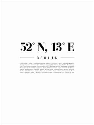 Wood print  Coordinates - Berlin - Finlay and Noa