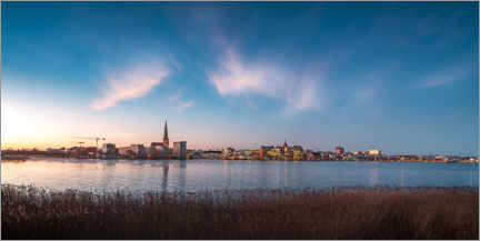 Premium poster  Rostock skyline at dusk - Dirk Petersen